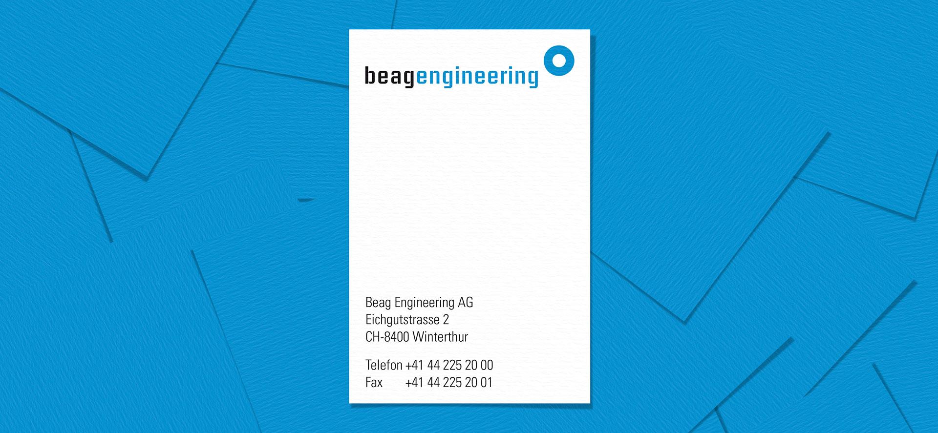 Corporate Design für Beag Engineering AG